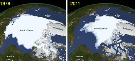Comparativa del hielo en 1979 y 2011, recogida por la NASA.  NASA