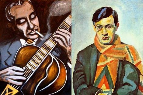 Retratos de Django Reinhardt y Tristan Tzara.