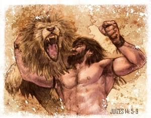 sansão lutando com leão