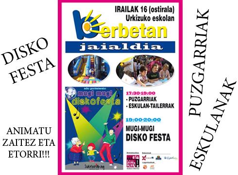 Disko  festa,  puzgarriak  eta  eskulanak  barixakuko  BERBETAN  jaialdian