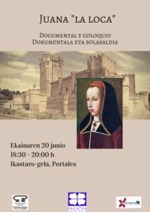 """Juana  """"eroa""""ri  buruzko  dokumentala  eta  solasaldia  antolatu  du  Pagatxak"""