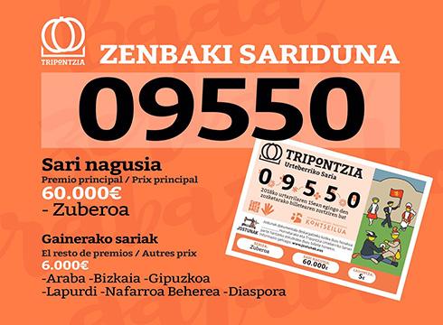 09550  zenbakiak  irabazi  du  Tripontzia  Urteberriko  Sari  nagusia