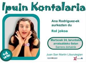 Ipuin-kontaketa eskainiko du bihar Ana Rodriguez-ek 4 urtetik gorako umeentzat