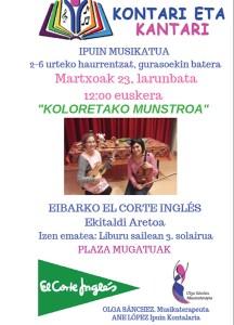 """Ipuin musikatua: """"Koloretako munstroa"""" @ El Corte Inglesean (ekitaldi aretoan)"""