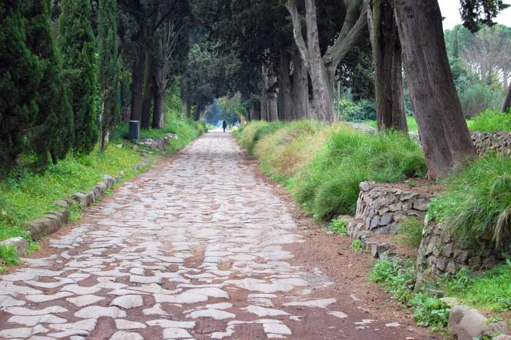 The ancient paving blocks of the Appian Way can be seen in a park just outside of central Rome. (photo: Rick Steves)