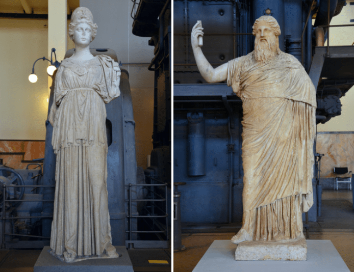 Statue of the so-called Athena of Castro Pretorio, Hellenistic statue (mid 3rd century BC) based on 6th century BC models, from the Via Mentena & Statue of bearded Dionysus, copy after Greek original of the 2nd half of 4th century BC, Centrale Montemartini, Rome museum. Photo © Carole Raddato.