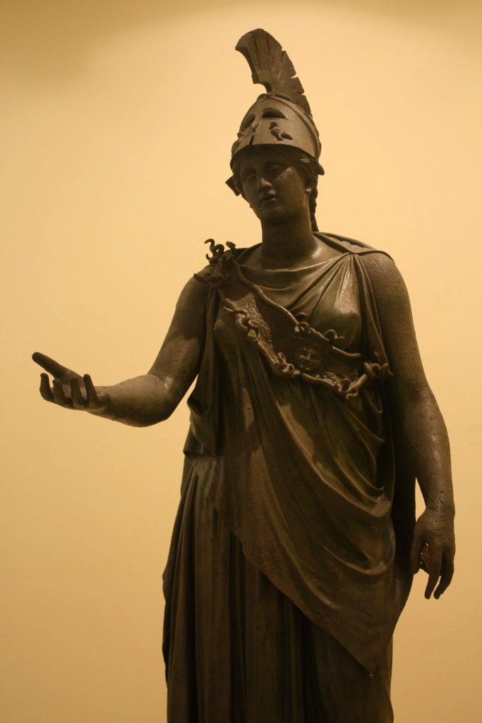 The bronze statue of Athena known as the Piraeus Athena. Possibly 4th century BCE or a later Hellenistic copy of an earlier original.