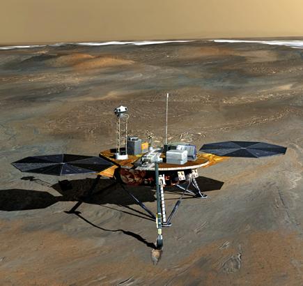 Concepção artística da sonda Phoenix Mars Lander na superfície marciana.
