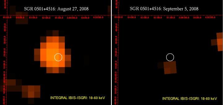 Integral observou a emissão de raios-X de alta energia vindos do magnetar SGR 0501+4516