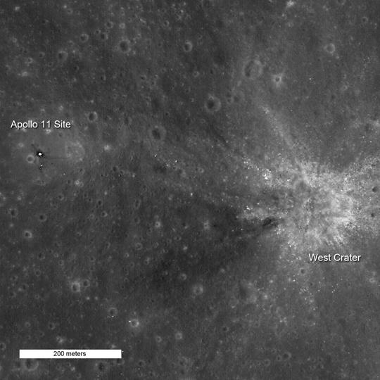 Última olhada no local de pouso da Apollo 11 pela câmera LROC da sonda Lunar Reconnaissance Orbitr. Crédito: NASA/GSFC/Arizona State University