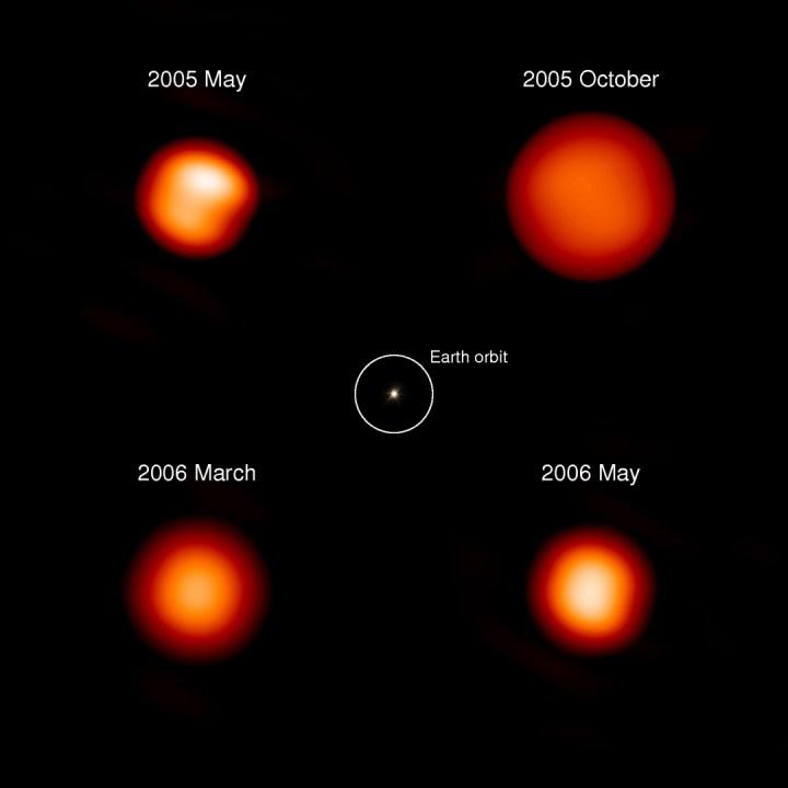 Chi Cygni pulsa uma vez cada 408 dias. Quando está com seu menor diâmetro (cerca de 480 milhões de quilômetros), Chi Cygni fica cercada com manchas brilhantes quando as colunas massivas de plasma quente turvam sua superfície. (tais manchas são como os grãos na superfície de nosso Sol, mas muito maiores). Conforme se expande, Chi Cygni se esfria e atenua, crescendo até um diâmetro de 770 milhões de quilômetros – o que seria grande o bastante para absorver e cozinhar o cinturão de asteróides de nosso Sistema Solar. Crédito: Sylvestre Lacour, Observatoire de Paris