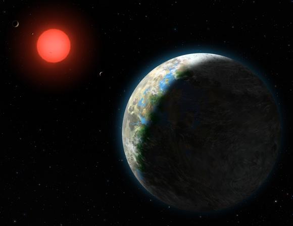 Representação artística que ilustra o exoplaneta Gliese 581 g. Crédito: NASA/Lynette Cook