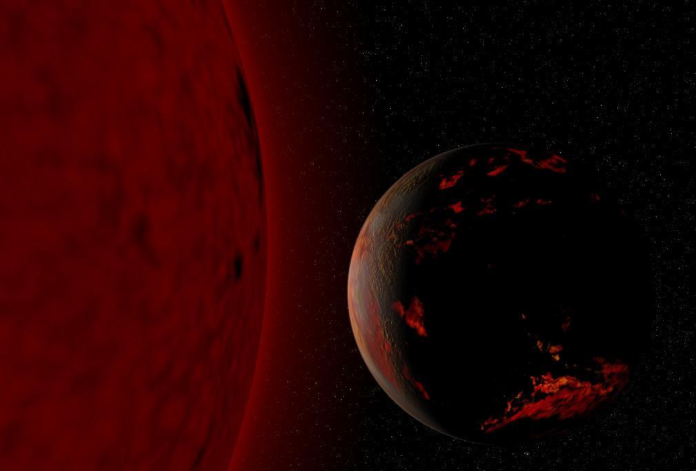 Terra na fase de gigante vermelha do Sol