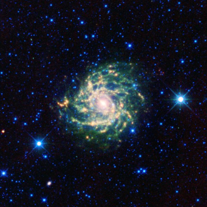 A galáxia IC 342, a 'galáxia escondida', fotografada em infravermelho pelo WISE (PIA13021). Crédito: NASA/JPL-Caltech/UCLA