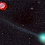 O Cometa PanSTARRS e a Nebulosa da Hélice por Fritz Helmut Hemmerich