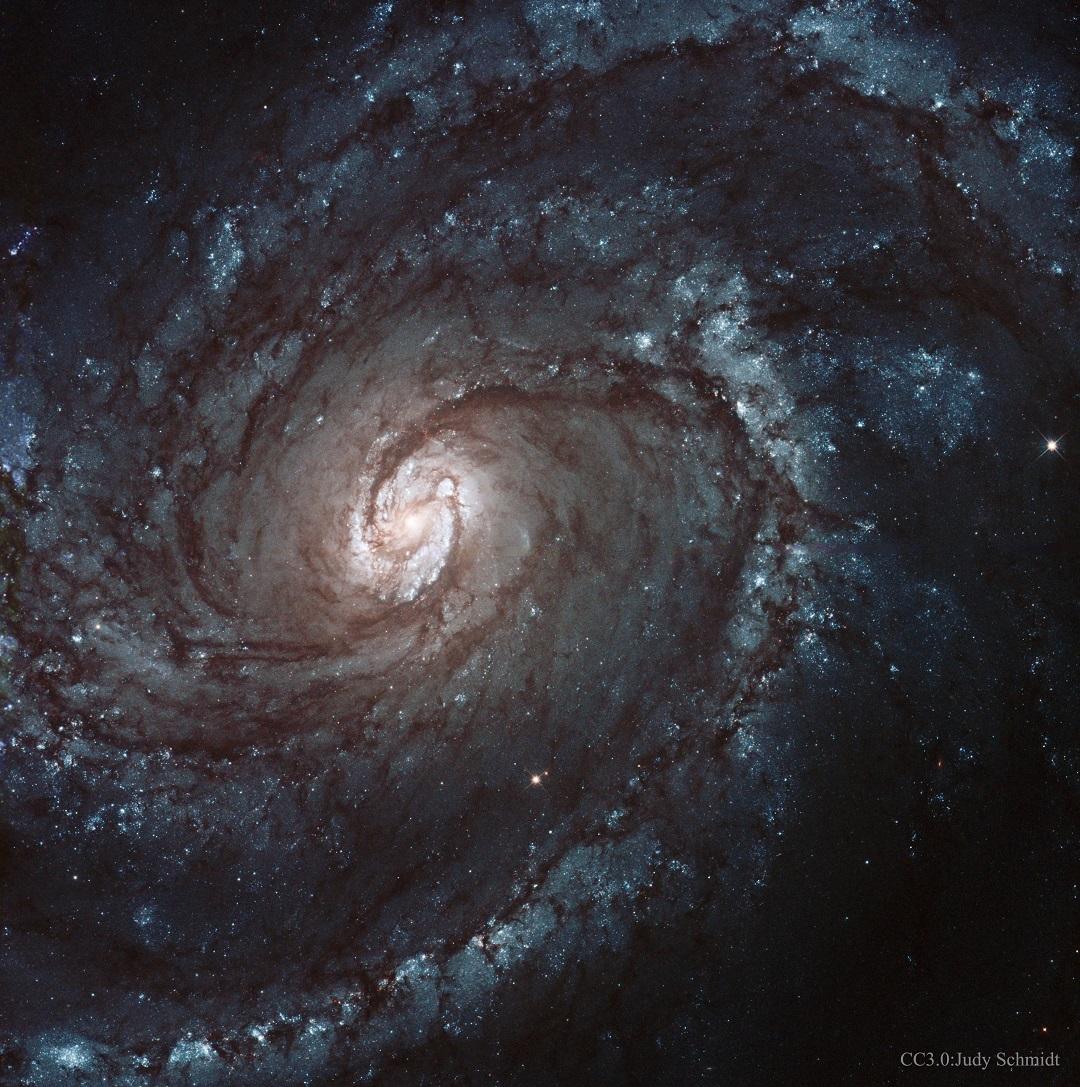 NGC 4321: a majestosa galáxia espiral M100 capturada pelo Hubble e processada por Judy Schmidt