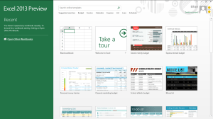 Microsoft Office Excel 2013 start screen