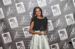 Miss Ethiopia Atti Worku after receiving the honorary Award from African Youth Excellence Inc. i ...