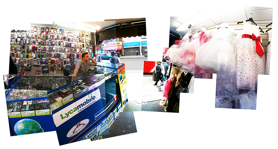 A single store hosting a mobile phone vendor and custom dressmaker     with a view out to Rye Lane