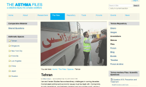 The Tehran Asthma Files main page where researchers can connect with one another and coordinate their work.