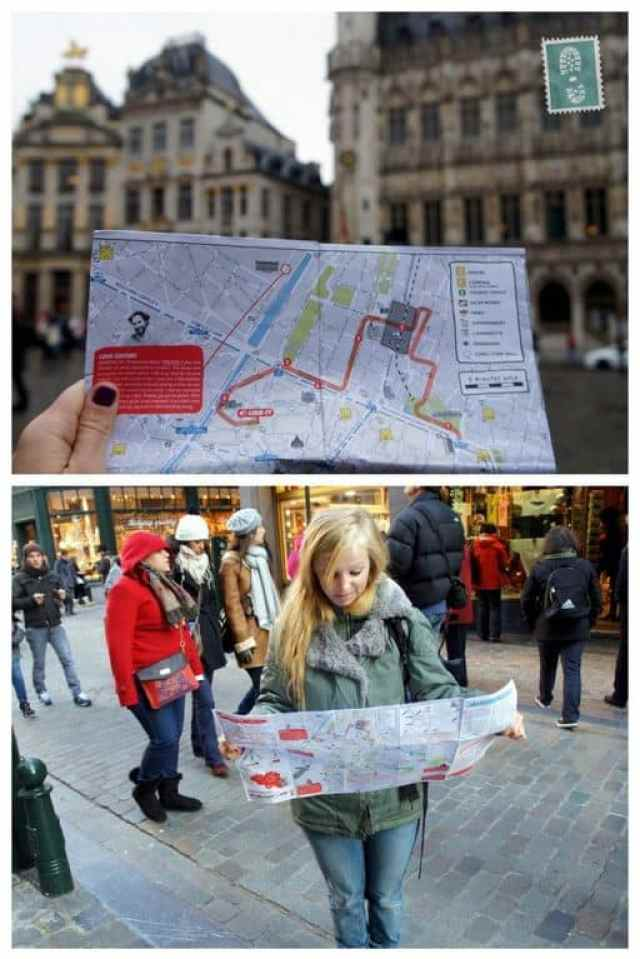 Confused girl trying to read a map of Brussels