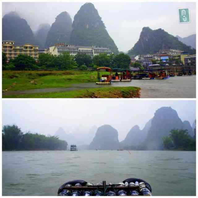 Boat riding across the Yangshuo River