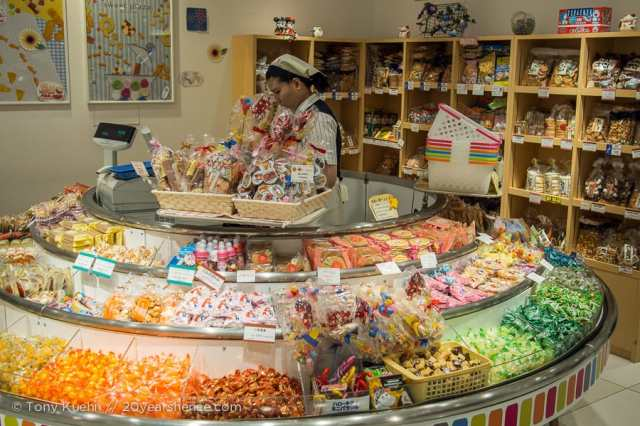 An overflowing candy display in a Japanese department store.