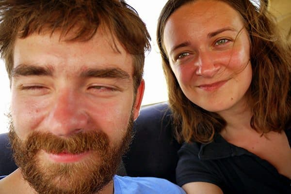 Selfie in a taxi in the middle of an Azeri desert, Qubustan, Azerbaijan