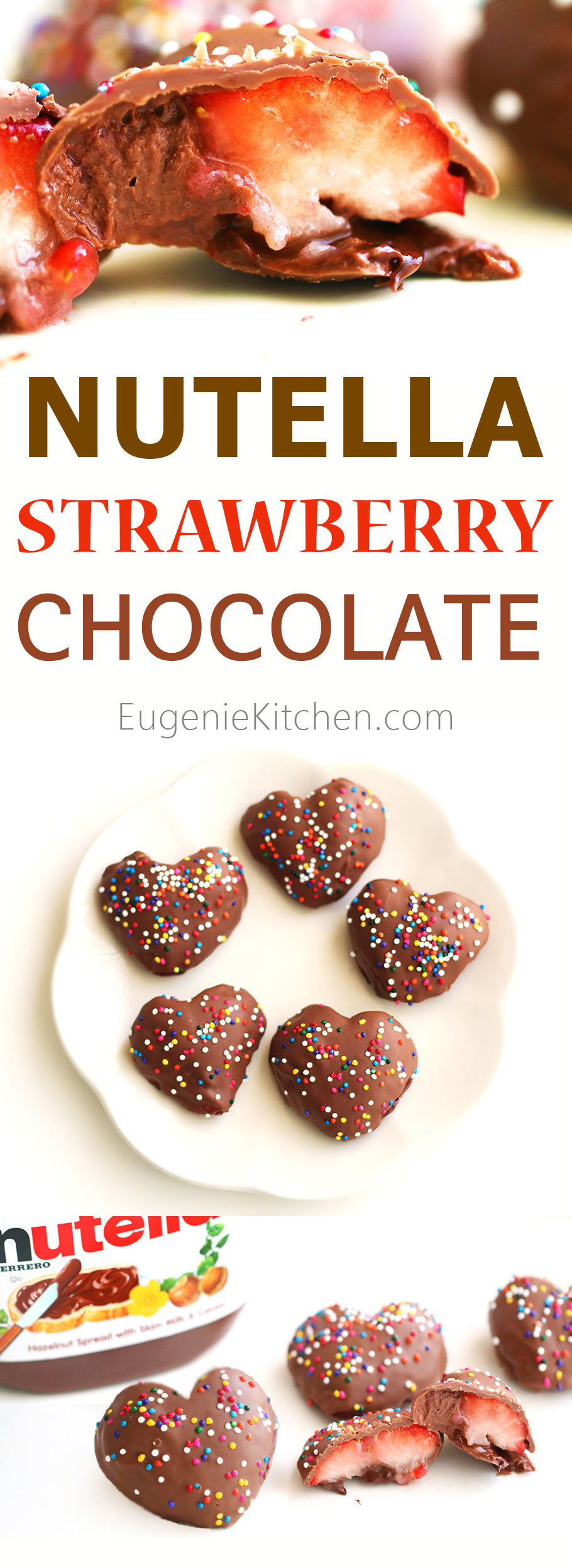 Nutella strawberry chocolate for your Valentine. No-bake, 4 ingredients, ready in 30 minutes. Look, how scrumptious!