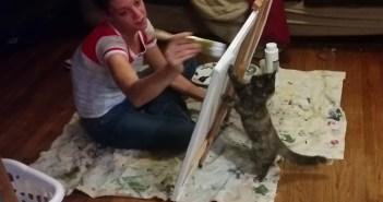 キャンバスと猫