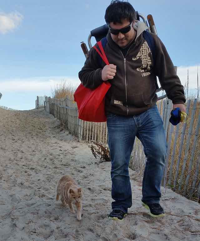旅行中の男性といっしょに歩く猫