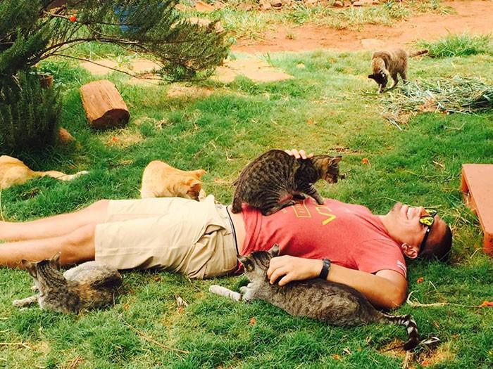 猫と寝る男性