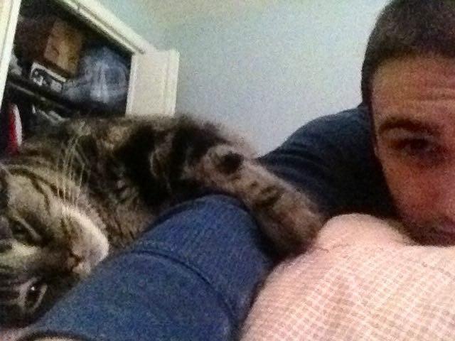 仲良しな男性と老猫