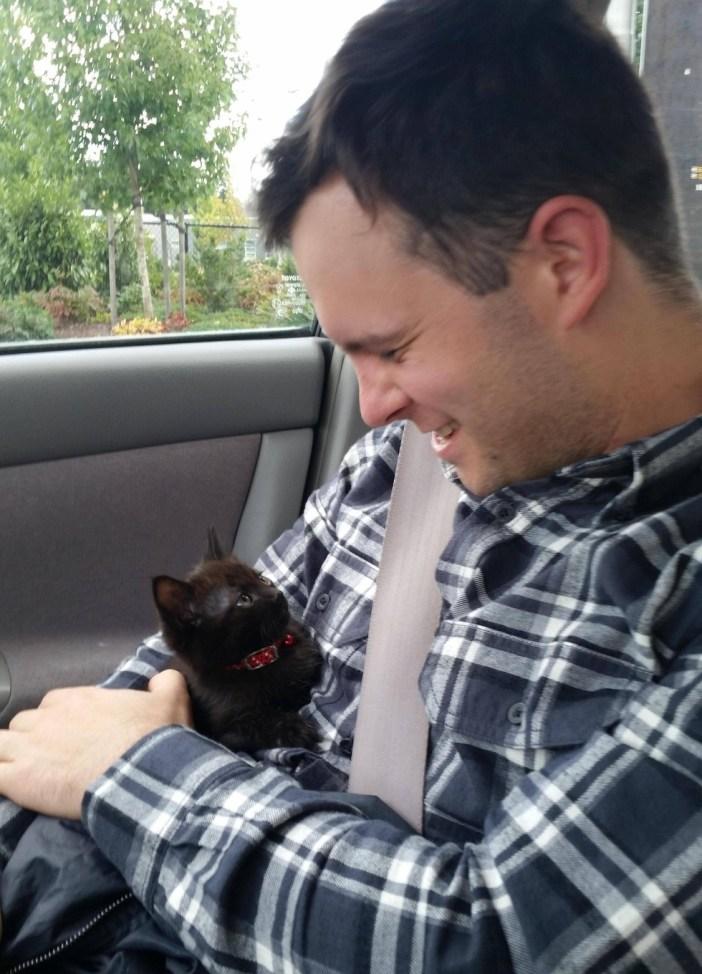 車の中の男性と猫