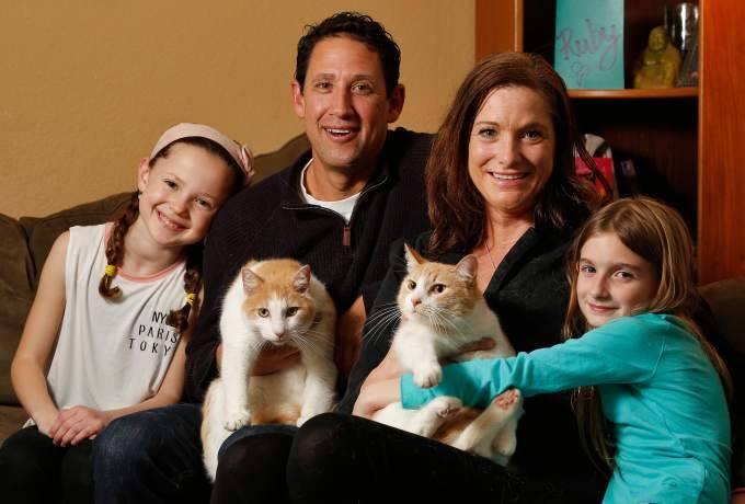 猫と家族の写真