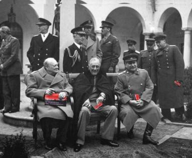 Stalin, Roosevelt and Churchill each with one of the cards at the Yalta Conference of 1945, which took place on the Crimean peninsula