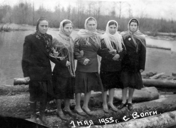 Crimean Tatars in resettlement areas after being deported in 1944