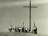 Erection of the cross in memory of the victims of the 1954 Kengir camp uprising in Kazakhstan, 1990