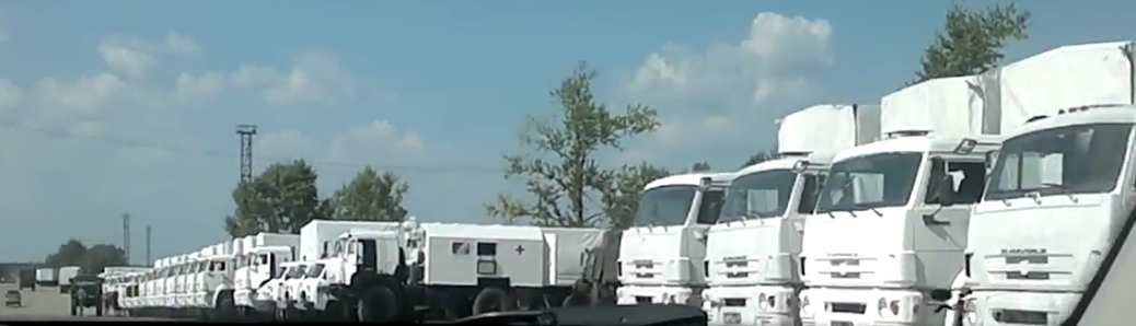 Russian military accompanying convoy