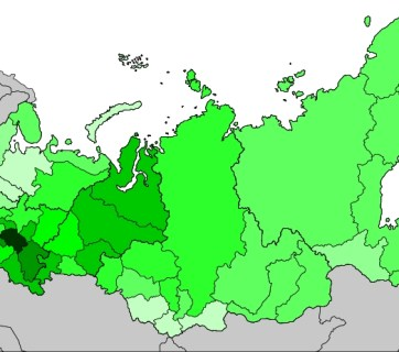 Tatar population density in Russia