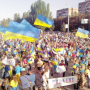 Demonstration to support Ukraine in the city of Mariupol after Grad rocket shelling by Russian forces, Jan-24-2015
