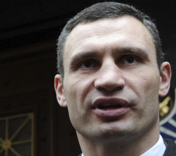 Vitali Klitschko speaking during an opposition rally in Kiev