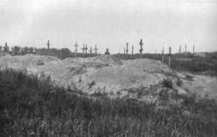 Holodomor of 1932-1933. The corpses of the starving are buried in mass graves