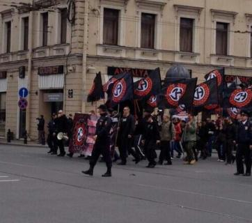 Russian National Socialists marching in St. Petersburg on 1 May 2014. Photo by Radio Svoboda