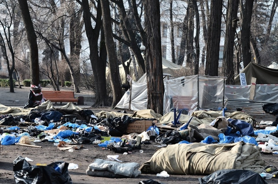 The original Antimaidan's abandoned camp in Mariinskyi Park, Kiev, February 2014