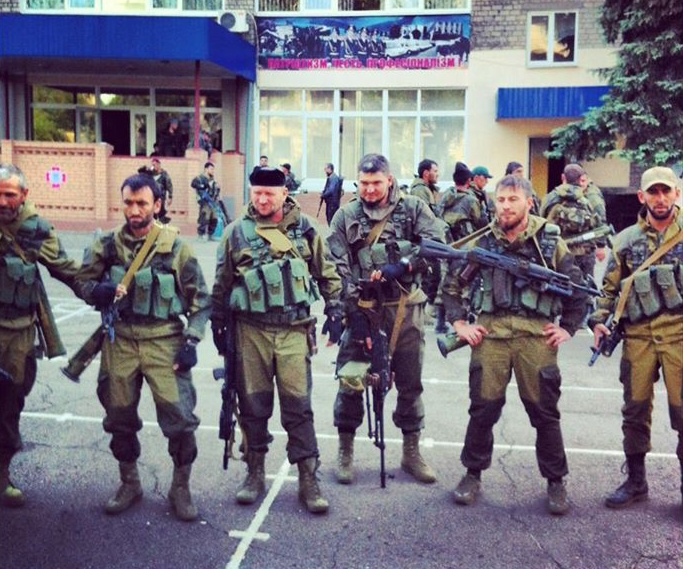 Russian mercenaries from Chechnya in Donetsk, Ukraine (Image: Сергей Шаргунов / Facebook)