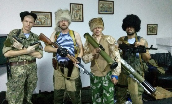 Russian neo-Cossack mercenaries in Donbas, Ukraine posing for camera, 2014 (Image: nr2.com.ua)