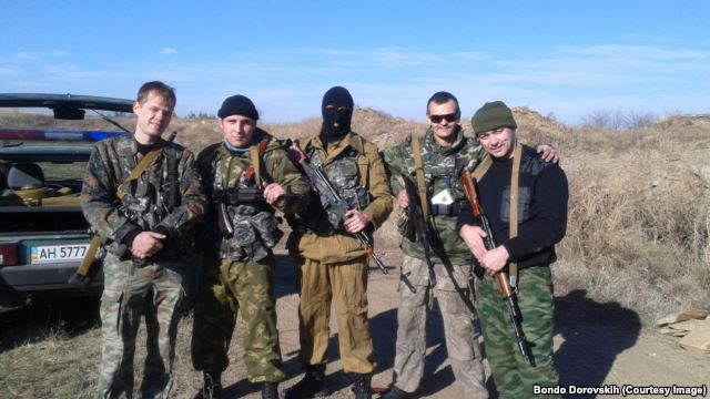 Bondo Dorovskikh (R) with otherRussian militants near Alchevsk, Ukraine