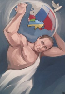 Another portrait of Putin. The globe has the Crimea painted in the colors of Russia (Image: bbc.com)