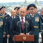Putin speaking in Sevastopol during the Victory Day 2014 celebrating the Russian annexation of the Crimea (Image: kremlin.ru)